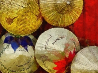 Straw Hats For Sale Hoian Vietnam Download Print Richard Neuman Two Bananas Art