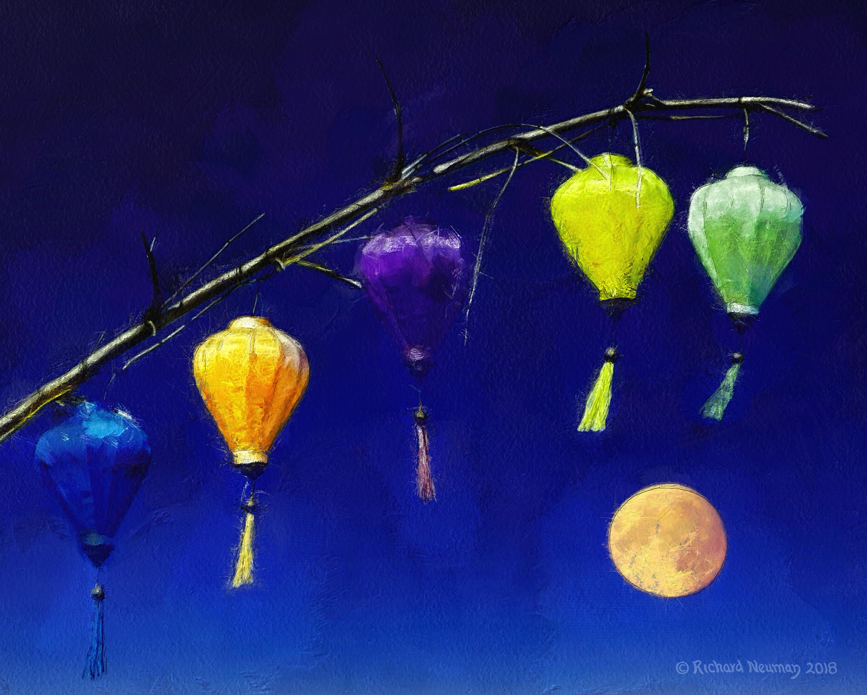 Full Moon And Colored Lanterns Hoian Vietnam Download Print Richard Neuman Two Bananas Art