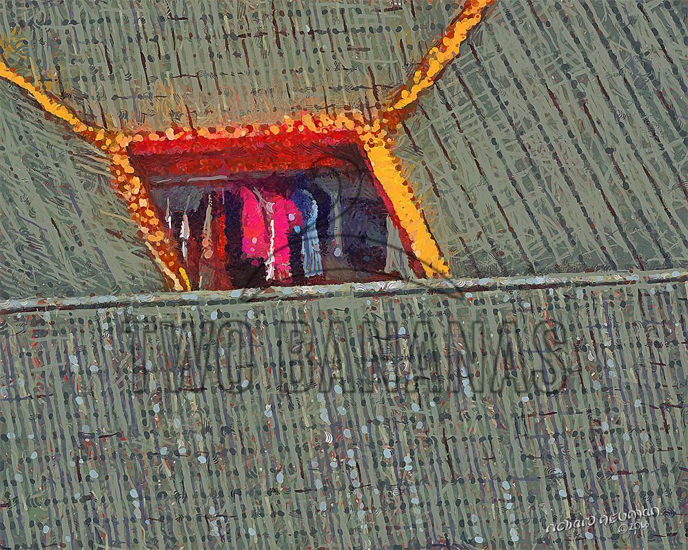 294 Laundry Drying In Courtyard Wuhan China DIY Download Print Millennial Impressionist Richard Neuman Two Bananas Art