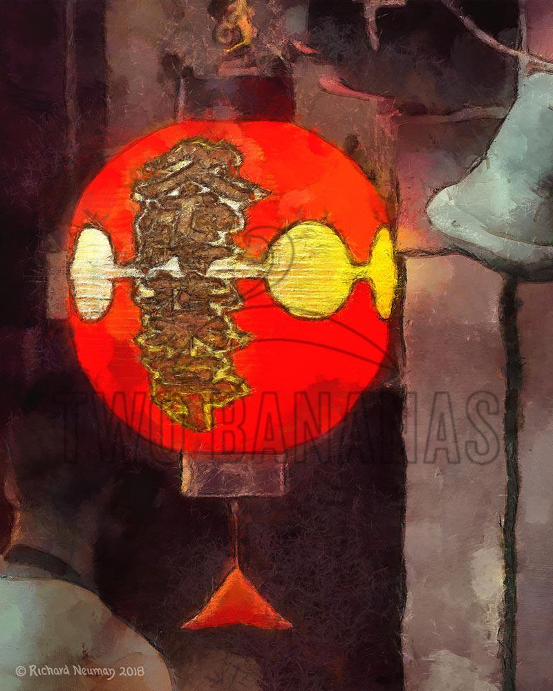 Red Gold Portal Lantern Bell Kyoto Japan Download Print Richard Neuman Two Bananas Art