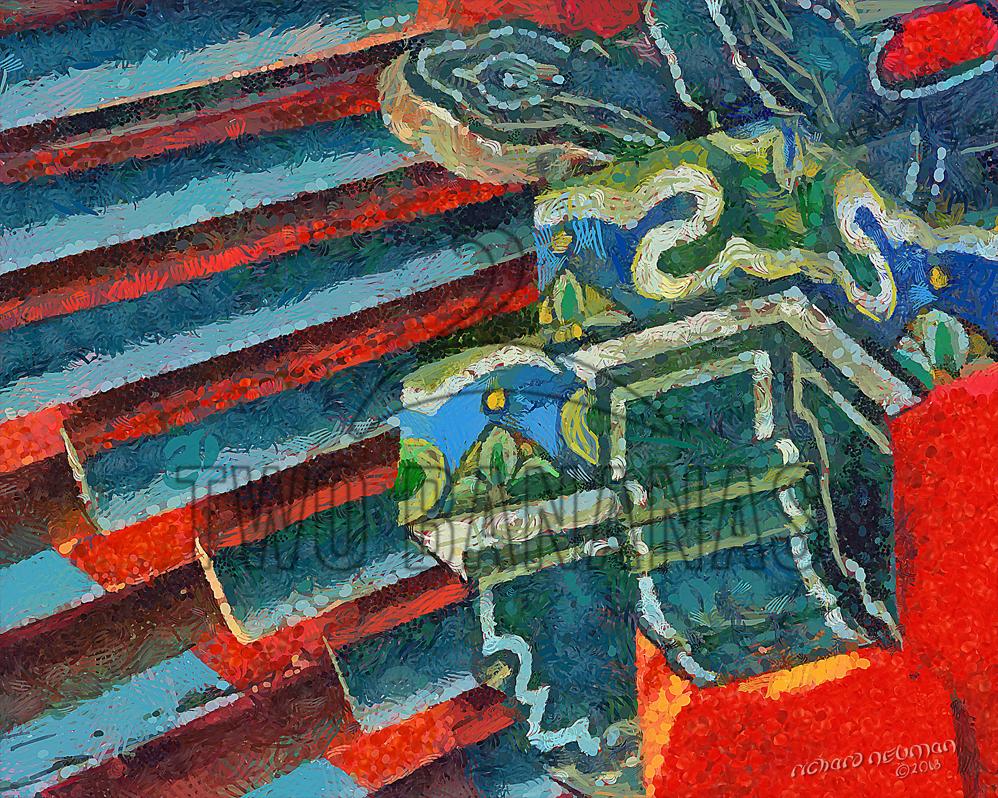 668 Red Roof Rib Pattern Wild Goose Pagoda Xian China DIY Download Print Millennial Impressionist Richard Neuman Two Bananas Art