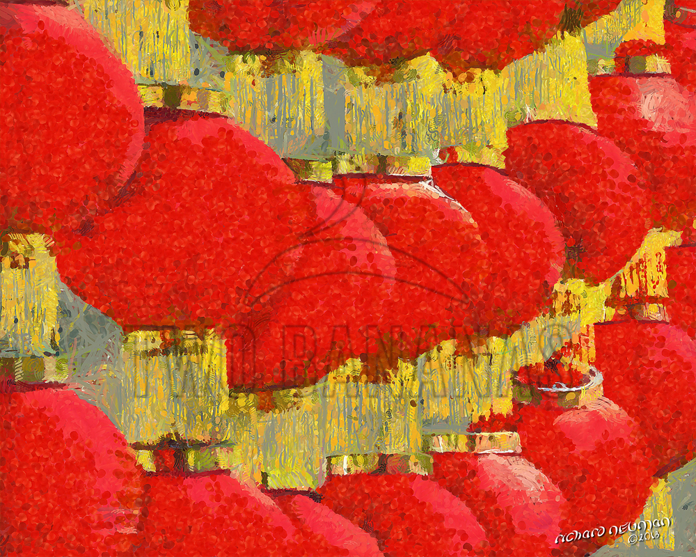 Wall Of Red Lanterns Xian China DIY Download Print Millennial Impressionist Richard Neuman Two Bananas Art