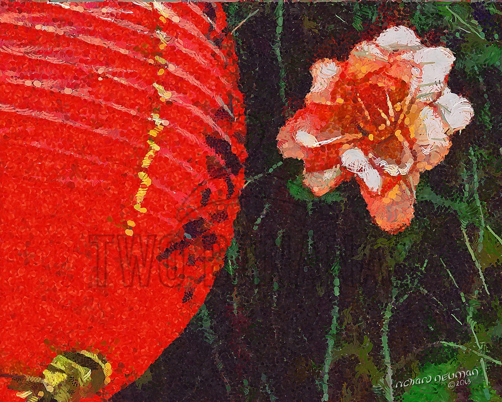 Lantern & Flower Temple Taoyaun Taiwan DIY Download Print Millennial Impressionist Richard Neuman Two Bananas Art