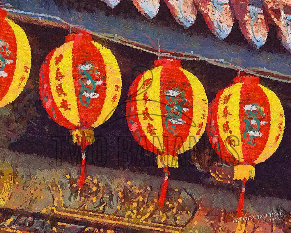 Lanterns Along Temple Roof Taipei Taiwan DIY Download Print Millennial Impressionist Richard Neuman Two Bananas Art