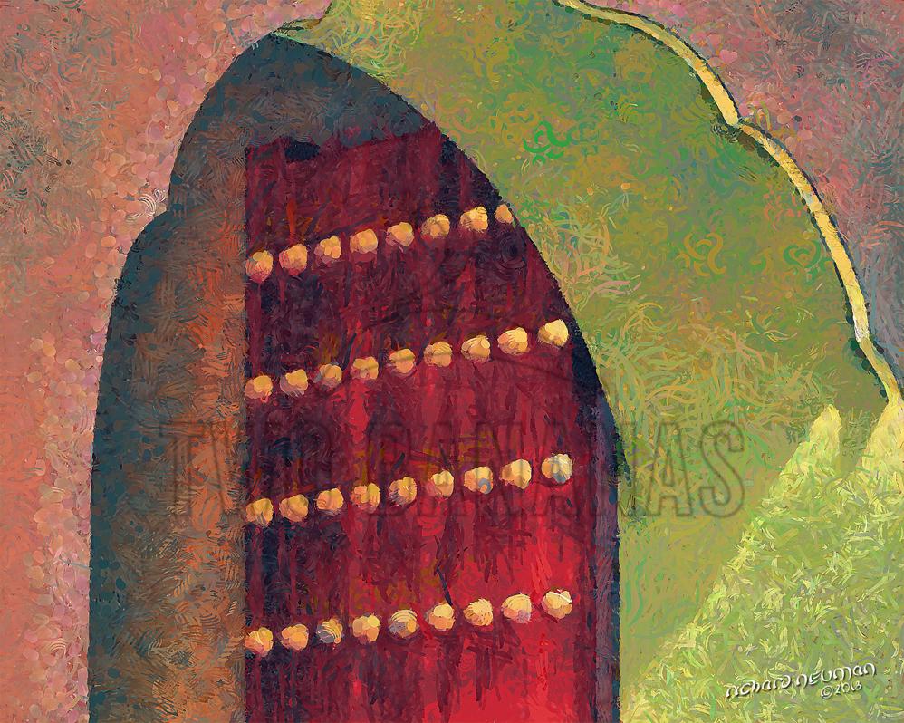 Red Doorway Forbidden City Beijing China DIY Download Print Millennial Impressionist Richard Neuman Two Bananas Art