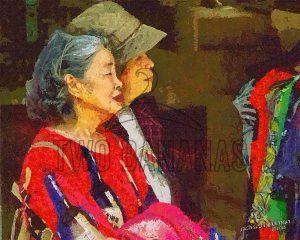 Two Ladies Waiting For Bus Taoyaun Taiwan Visual Verbal Stories Impressionist Painting Richard Neuman Two Bananas Art