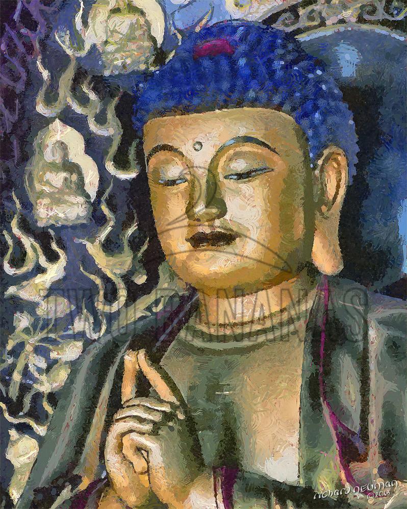 Blue Buddha Great Wild Goose Pagoda Xian China DIY Download Print Millennial Impressionist Richard Neuman Two Bananas Art