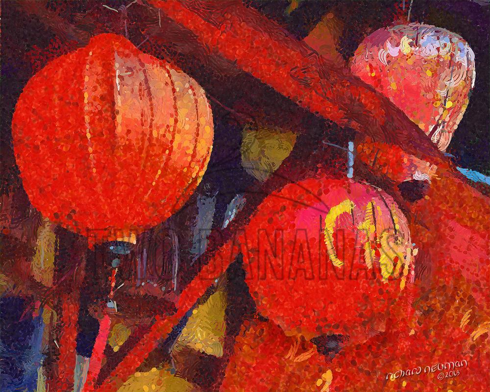 Ancient City Store Front Lanterns Hoian Vietnam DIY Download Print Millennial Impressionist Richard Neuman Two Bananas Art