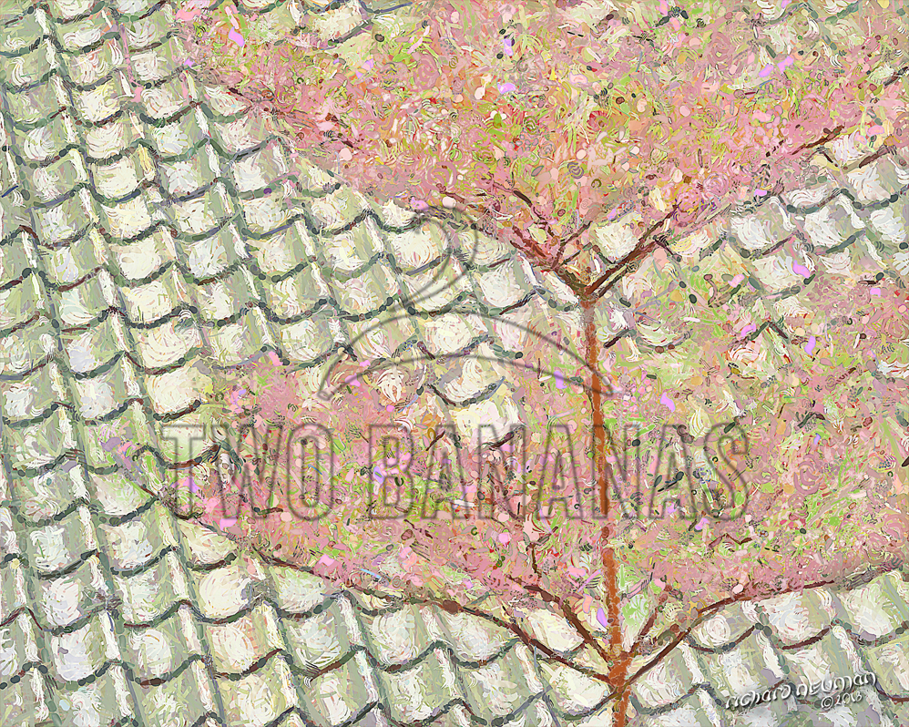 Blossoms And Tiles Daxi Tea Factory Taoyauyn Taiwan DIY Download Print Millennial Impressionist Richard Neuman Two Bananas Art