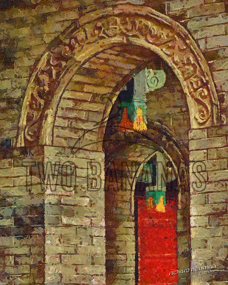 Arches And Lanterns Grand Mosque Xian China DIY Download Print Millennial Impressionist Richard Neuman Two Bananas Art