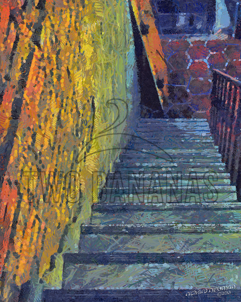 Golden Wall And Stairs Cafe Tainan Taiwan DIY Download Print Millennial Impressionist Richard Neuman Two Bananas Art