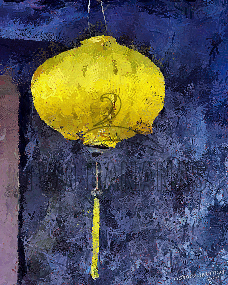 Lone Yellow Lantern Views Of Hoian Vietnam DIY Download Print Millennial Impressionist Richard Neuman Two Bananas Art
