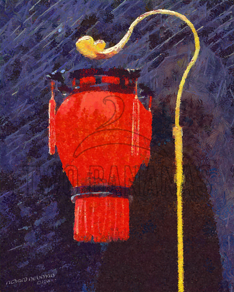 Red Lantern Guards Old City Gate Xian China DIY Download Print Millennial Impressionist Richard Neuman Two Bananas Art