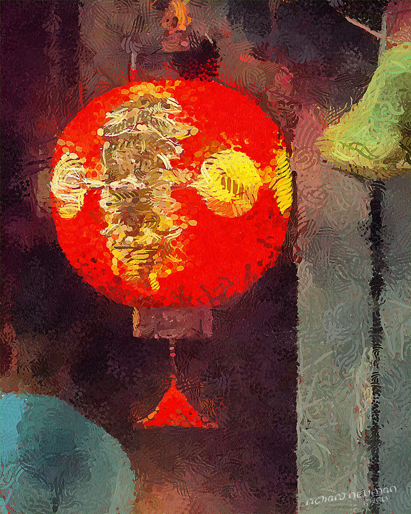 Red Gold Portal Lantern & Bell Kyoto Japan DIY Download Print Millennial Impressionist Richard Neuman Two Bananas Art