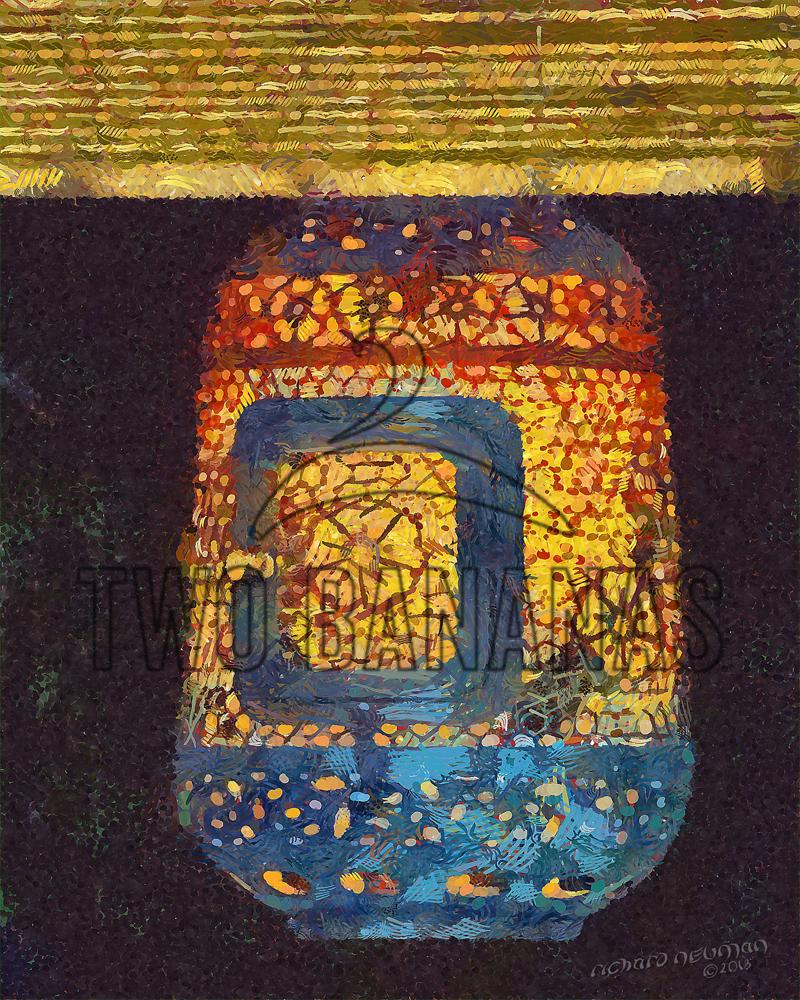 Ornate Metal Lantern Bamboo Shade Kyoto Japan DIY Download Print Millennial Impressionist Richard Neuman Two Bananas Art