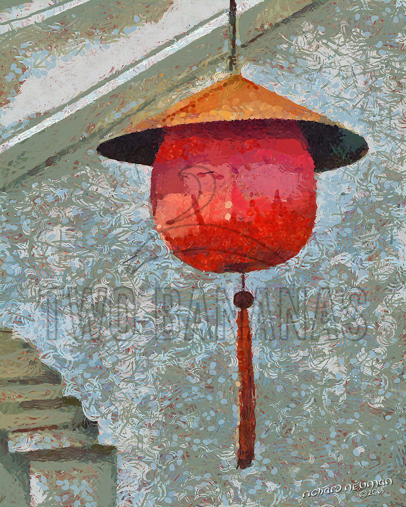 Conical Hatted Red Lantern Ancient City Hoian Vietnam DIY Download Print Millennial Impressionist Richard Neuman Two Bananas Art