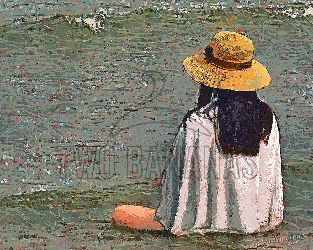 Girl Relaxing In Waves Vaugh Tho Beach Vietnam DIY Download Print Millennial Impressionist Richard Neuman Two Bananas Art