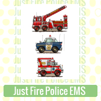 Just Fire Police EMS Link Richard Neuman Two Bananas Art Whimsical Fire Engines Squad Cars Ambulances Images Zazzle Items