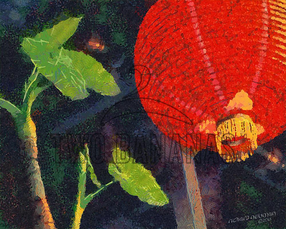 Red Lantern With Lotus Leaves Jiufen Taiwan