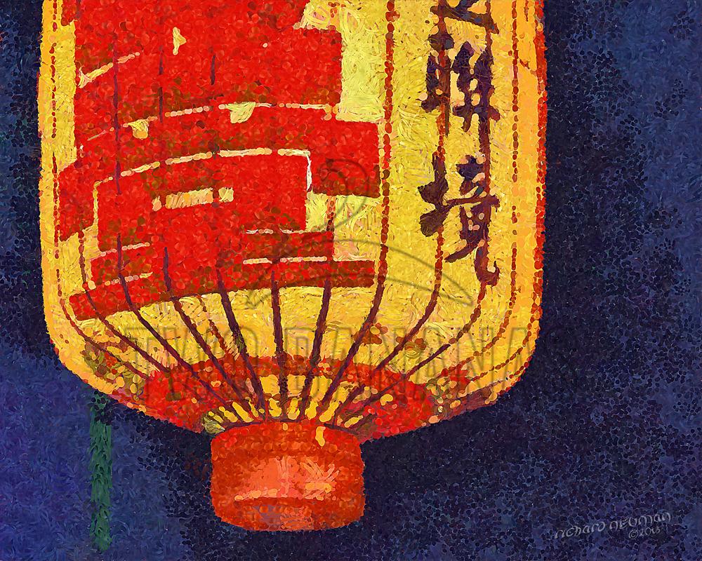 Orange Lantern Kenting Taiwan  DIY Download Print Millennial Impressionist Richard Neuman Two Bananas Art