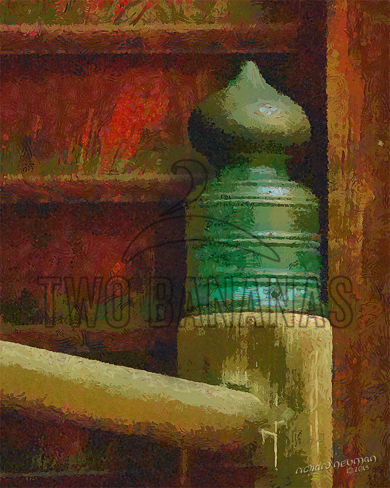 Bronze Capped Post Ninja Temple Kanasawa Japan DIY Download Print Millennial Impressionist Richard Neuman Two Bananas Art