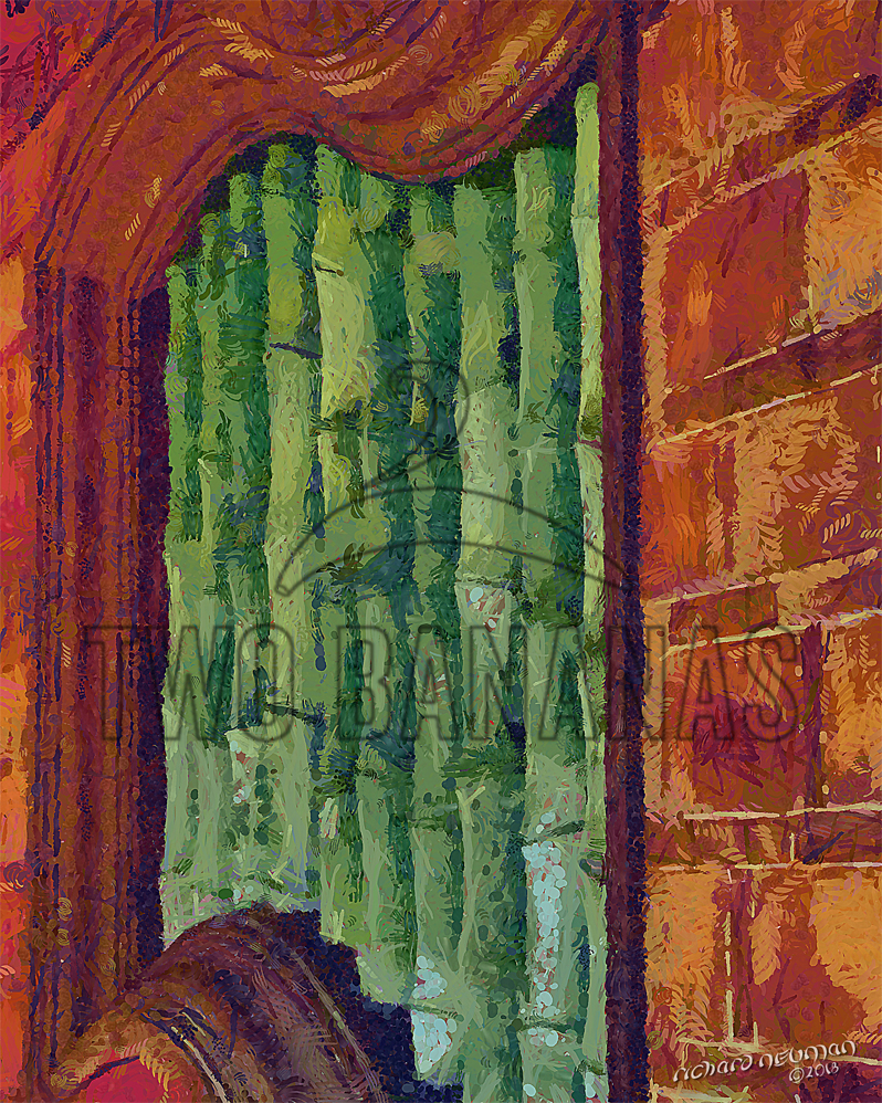 Green Bamboo Window Temple Tainan Taiwan DIY Download Print Millennial Impressionist Richard Neuman Two Bananas Art