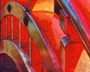 Red Arched Bridge Smiyoshi Taisha Shrine Osaka Japan Impressionist Painting Richard Neuman Two Bananas Art