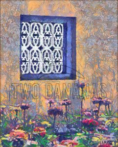 Blue Window And Flowers Citadel Hue Vietnam DIY Download Print Millennial Impressionist Richard Neuman Two Bananas Art