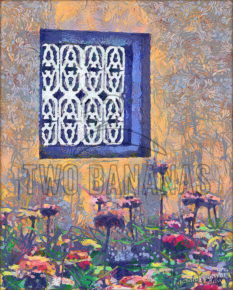 Blue Window And Flowers Citadel Hue Vietnam DIY Download Print Millennial Impressionist Richard Neuman Two Bananas Art