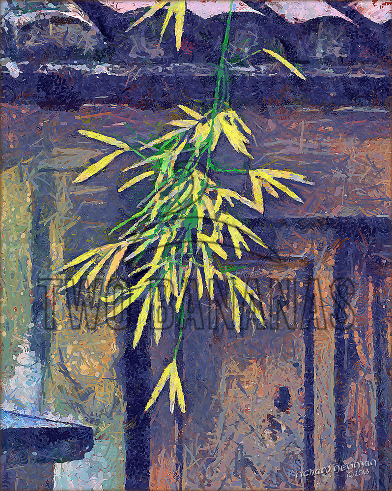 Sunlit Leaves And Door Hoain Vietnam DIY Download Print Millennial Impressionist Richard Neuman Two Bananas Art