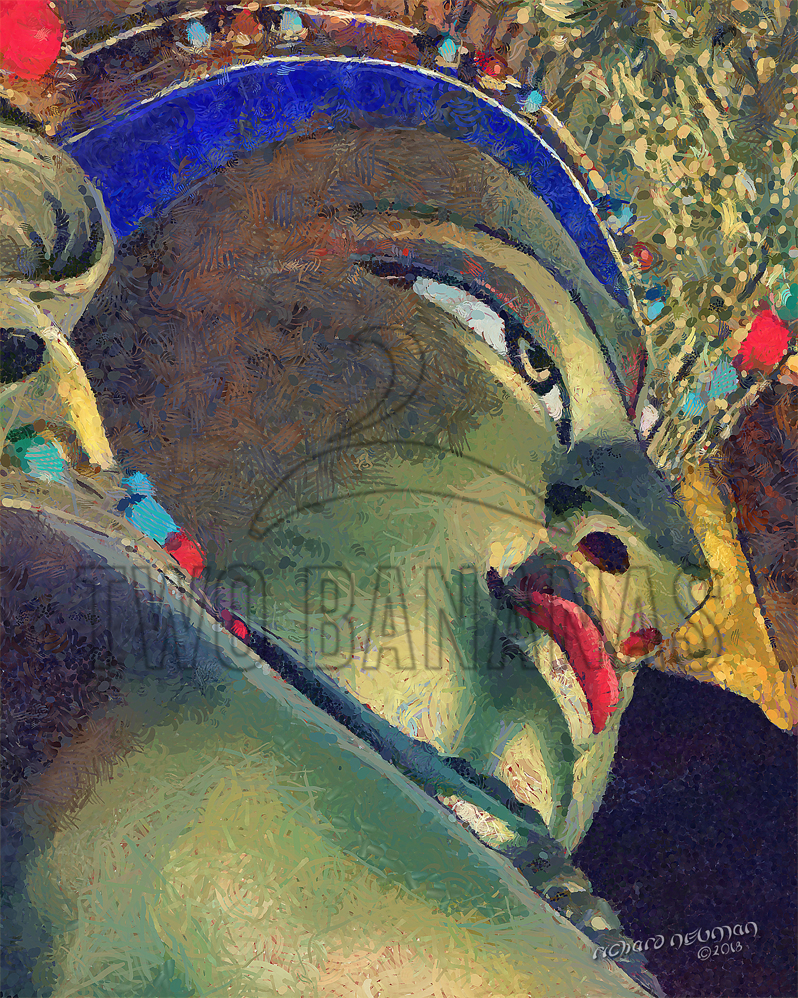 Blue Buddha Great Wild Goose Pagoda Xian China DIY Download Print Millennial Impressionist Richard Neuman Two Bananas Art