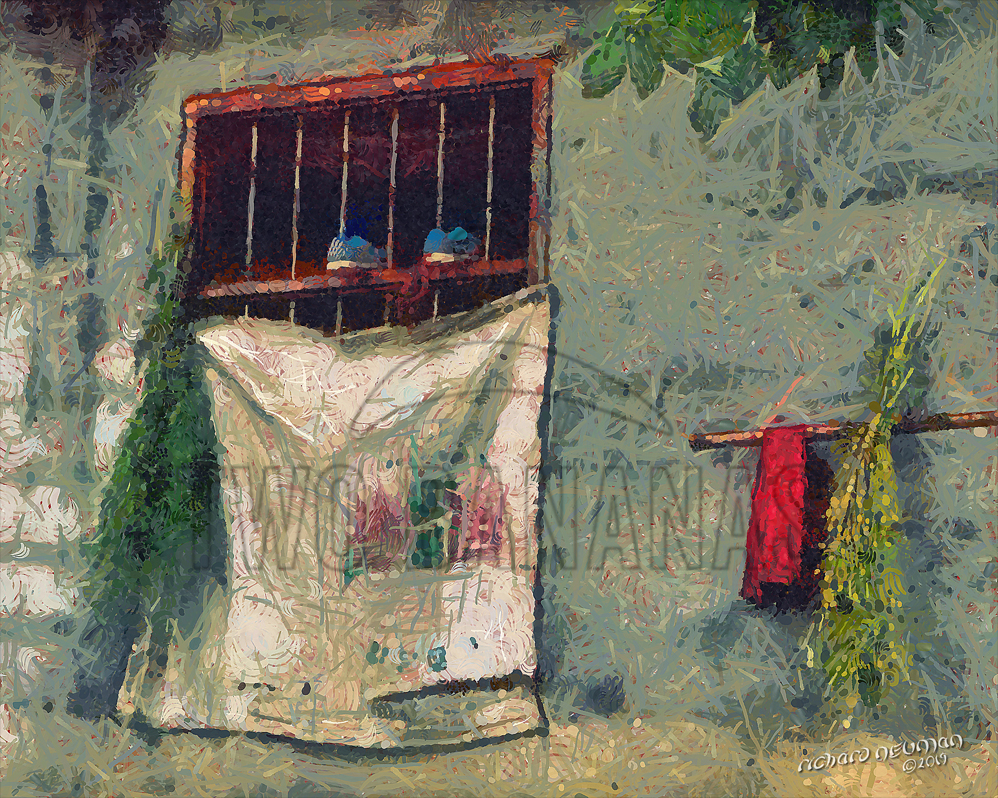 Two Shoes In Farmhouse Window Yangshou China DIY Download Print Millennial Impressionist Richard Neuman Two Bananas Art