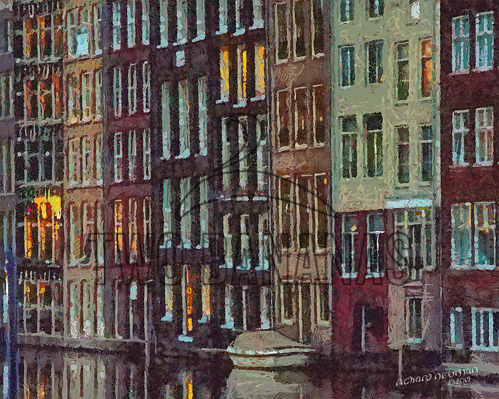 Canal Side Buildings Amsterdam Netherlands DIY Download Print Millennial Impressionist Richard Neuman Two Bananas Art