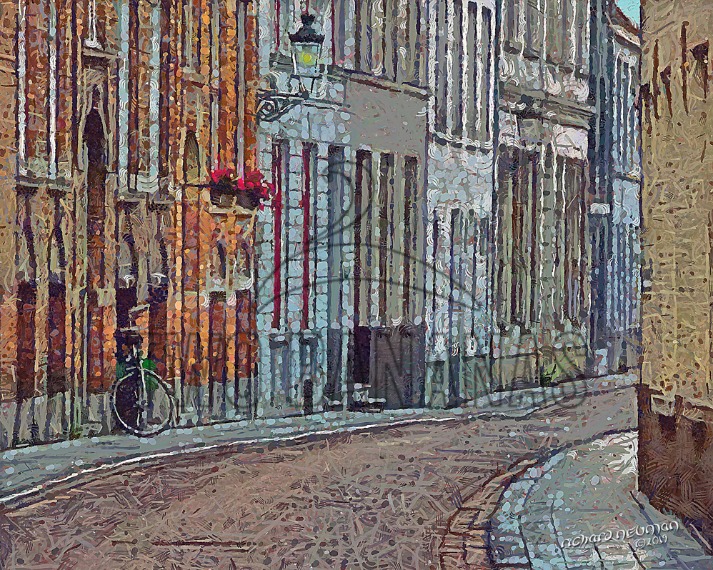 Quiet Narrow Street Bruges Belgium DIY Download Print Millennial Impressionist Richard Neuman Two Bananas Art