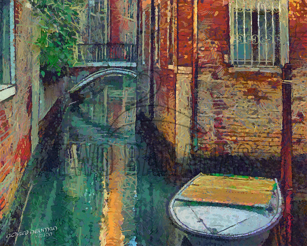 White Boat In Narrow Canal Venice Italy DIY Download Print Millennial Impressionist Richard Neuman Two Bananas Art