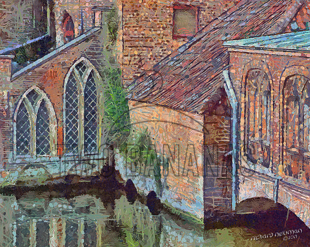 Reflections Of Old St Johns Hospital Bruges Belgium DIY Download Print Millennial Impressionist Richard Neuman Two Bananas Art