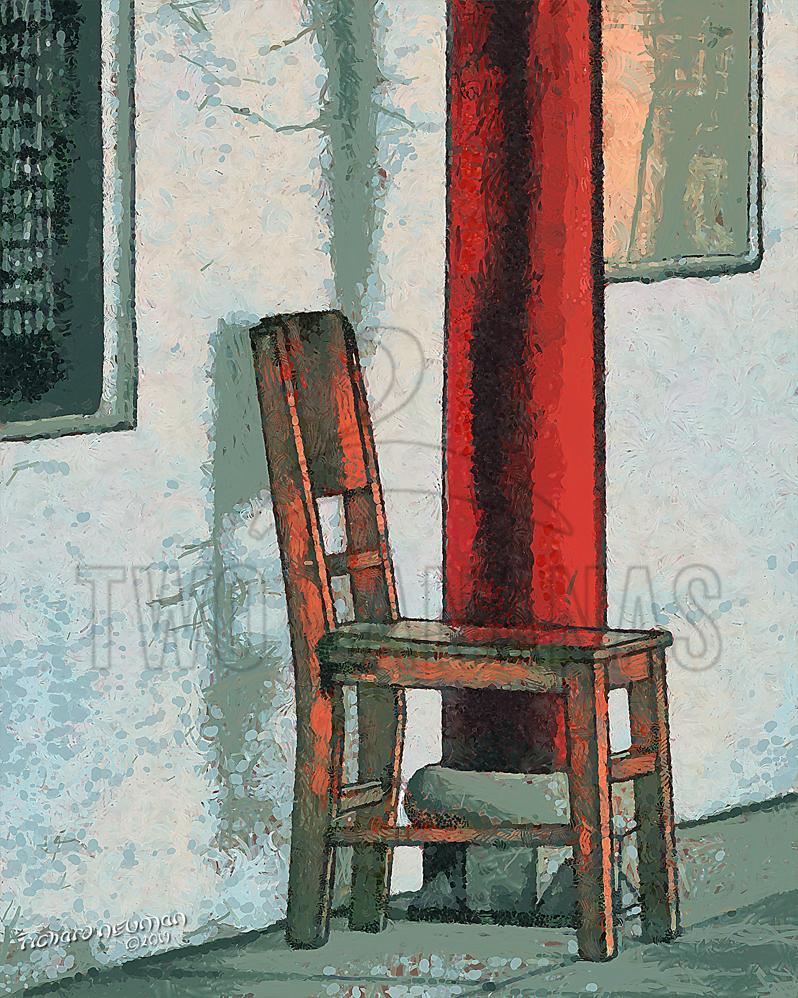 Lone Chair Guiyaun Buddhist Temple Wuhan China DIY Download Print Millennial Impressionist Richard Neuman Two Bananas Art