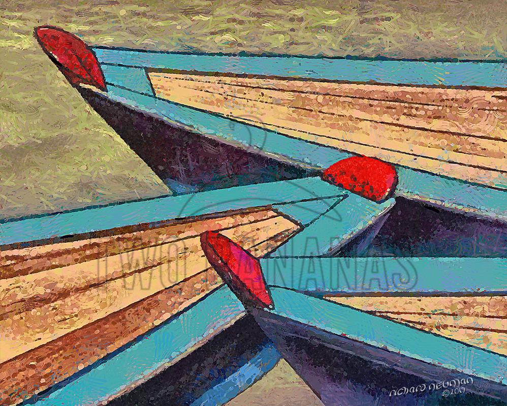 Blue Riverboat Bows Mekong Delta Vietnam DIY Download Print Millennial Impressionist Richard Neuman Two Bananas Art